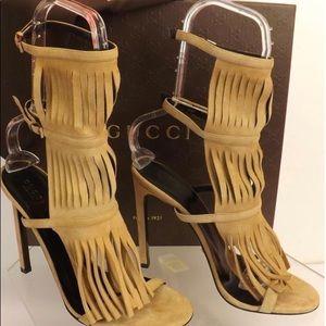 Nude Gucci Fringe Sandal
